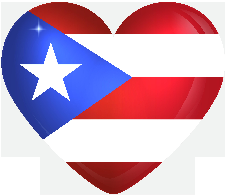 Puerto Rico Large Heart Flag.