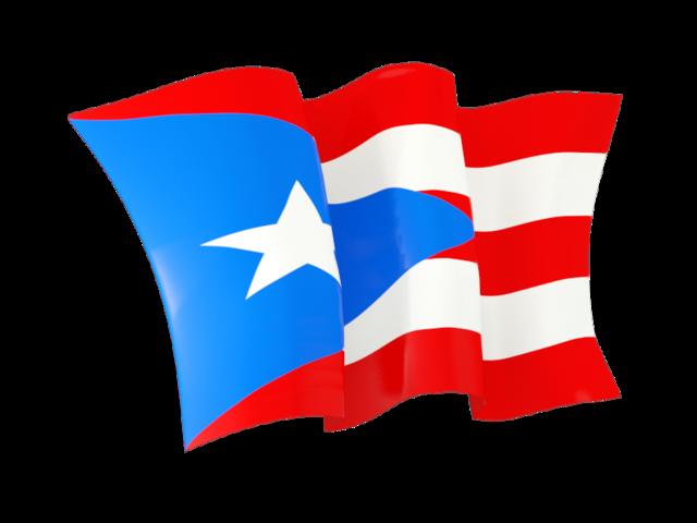 Waving flag. Illustration of flag of Puerto Rico.