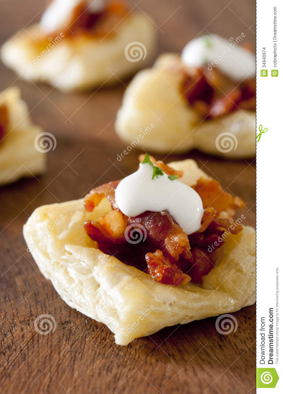 Puff Pastry Bacon Appetizers Stock Images.