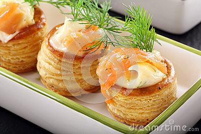 Appetizer Puff Pastry With Dill Dip And Salmon Stock Photo.