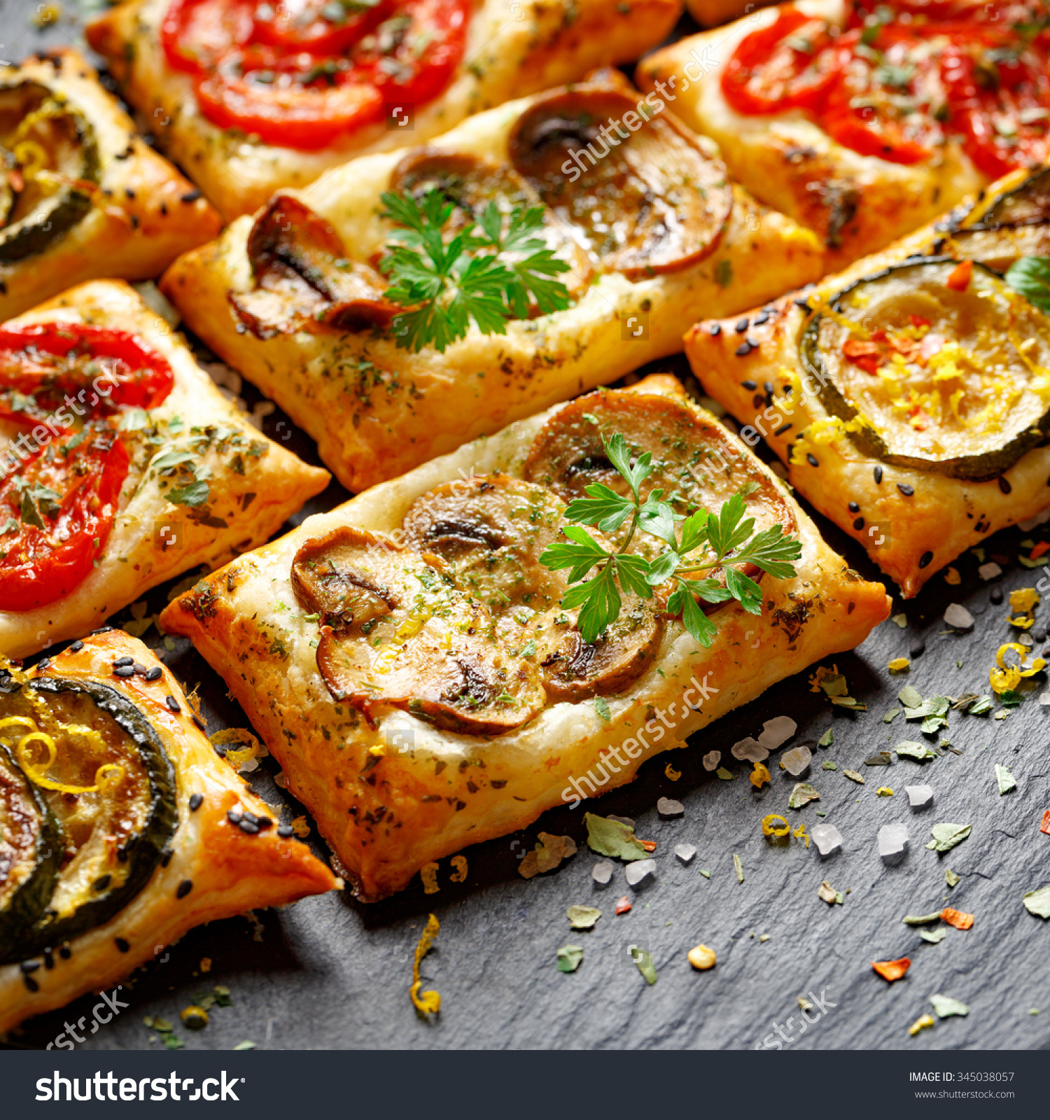 Small Vegetable Tarts Puff Pastry Tomato Stock Photo 345038057.
