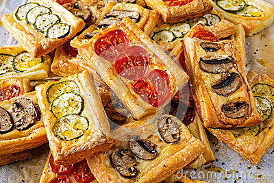 Puff Pastry Appetizers With Vegetables, Mushrooms, Tomatoes.