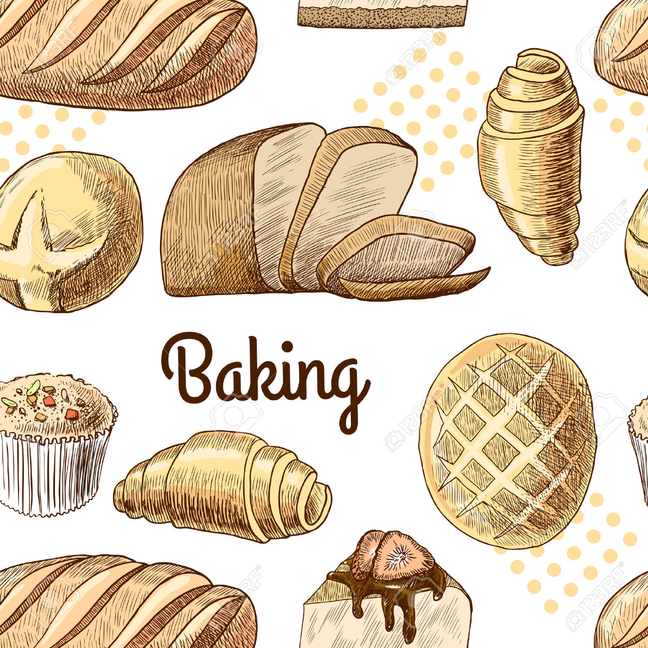 Puff Pastry Bread Croissant Cupcake Baking Seamless Food Pattern.