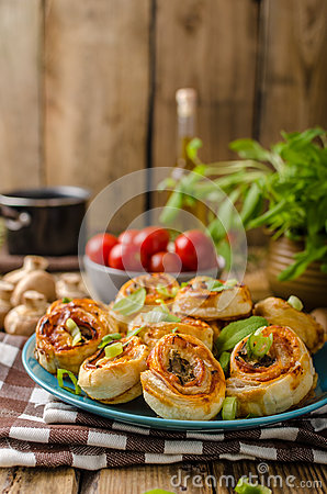 Pizza Snails Puff Pastry Stock Photo.