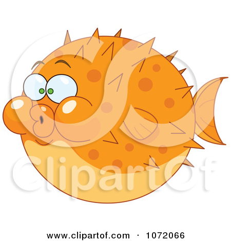 Clipart Orange Blow Puffer Fish.