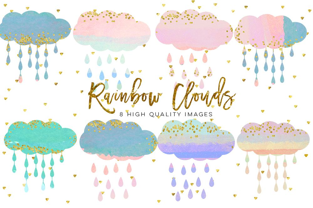 baby clouds clip art, Watercolor fluffy clouds and rain drops, digital  papers, magical clipart, nursery art, children decor, whimsical.