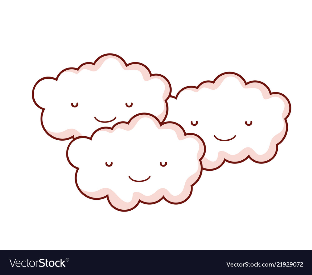 Kawaii happy nature fluffy clouds together.