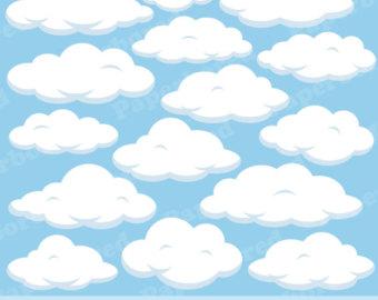 FLUFFY CLOUDS Clip Art, Cloud.