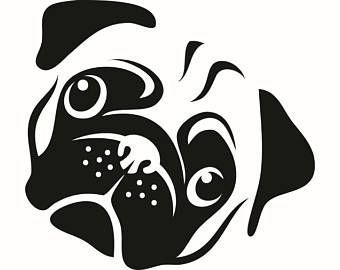 Awesome Bulldog Images Black And White pug clipart pug face.