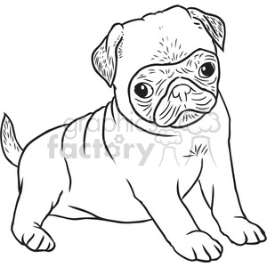 pug puppy vector RF clip art images clipart. Royalty.