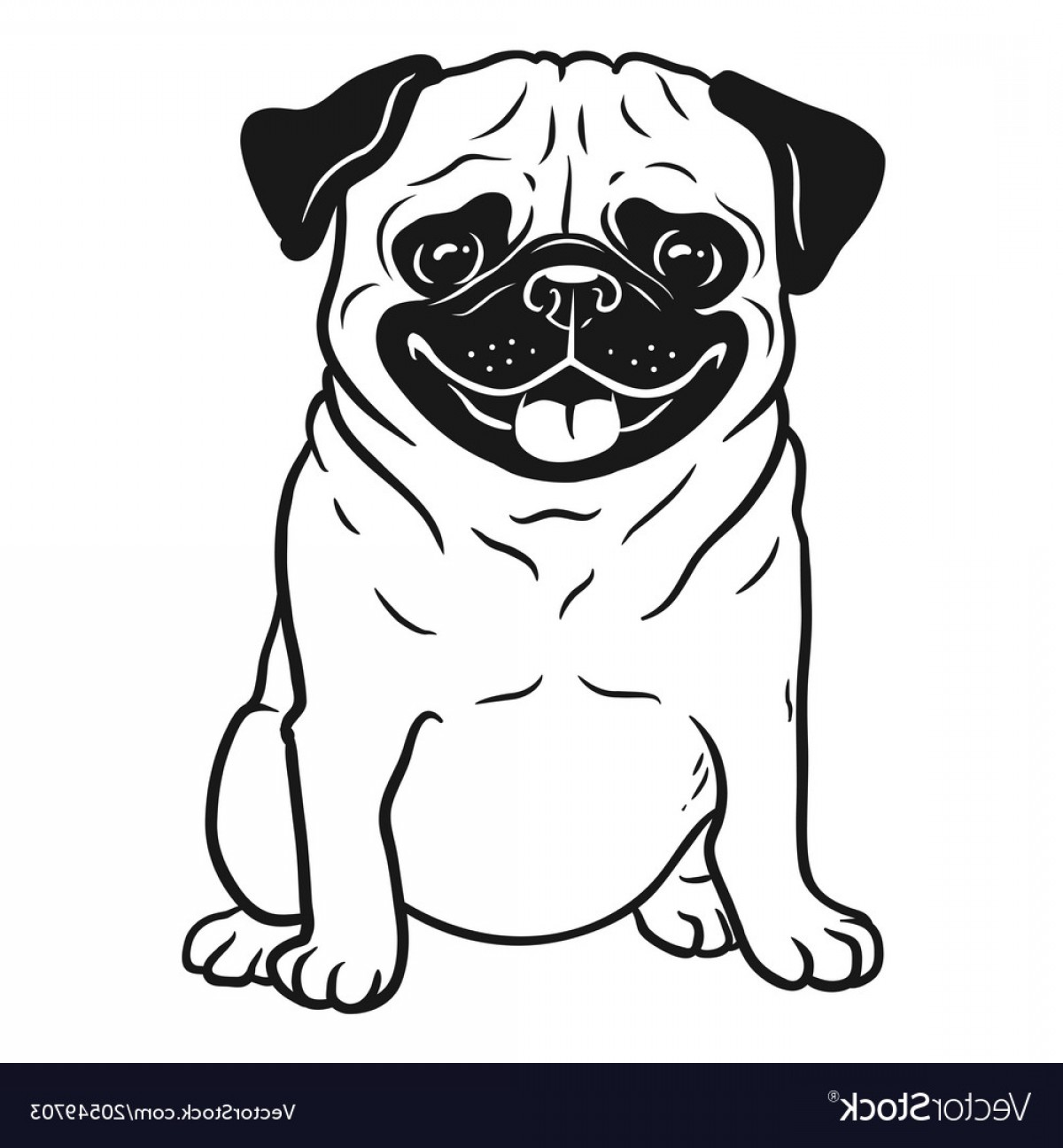 Pug Dog Black And White Hand Drawn Cartoon Vector.