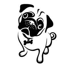 Resultado de imagen de pug face clipart black and white.