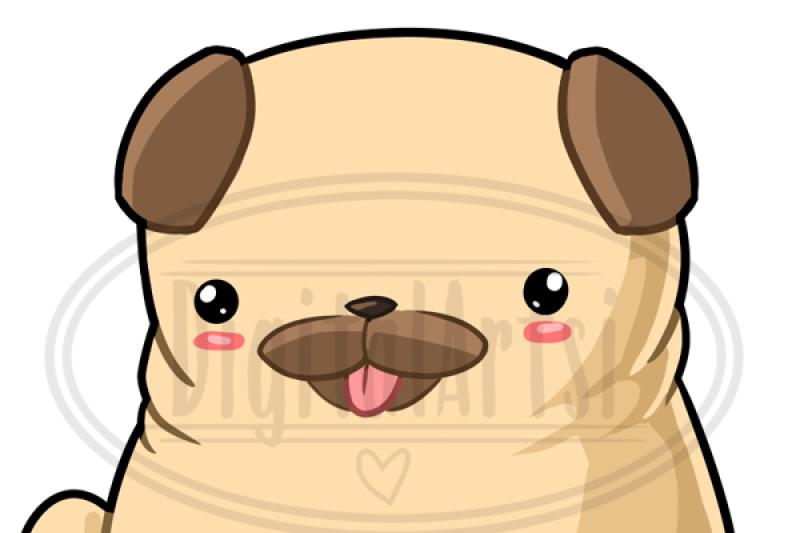 Kawaii Pug Clipart By Digitalartsi.
