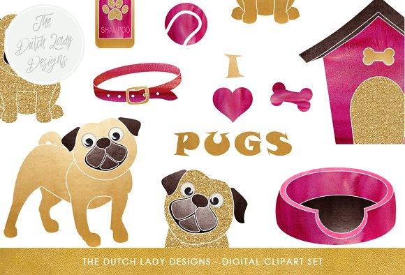 Pug & Dog Accessories Clipart Set.