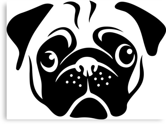 \'Cute Pug Face by AiReal Apparel\' Canvas Print by airealapparel.