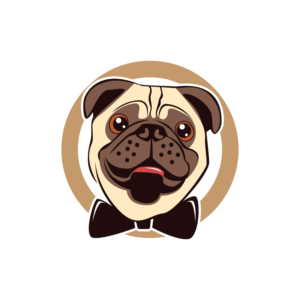 Design a cute picture cartoon Pug DOG Logo for luxurious.