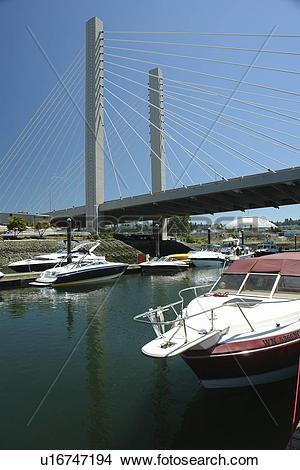 Stock Photo of Tacoma, WA, Washington, Puget Sound, SR 509 Cable.