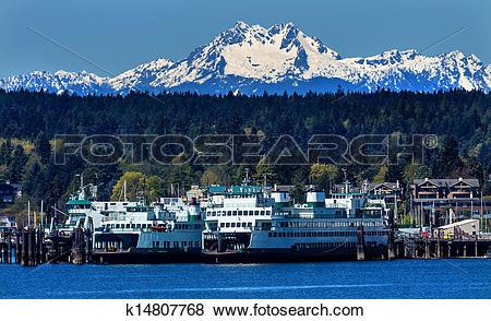 Pictures of Bainbridge Island Ferry Dock Puget Sound Mount Olympus.