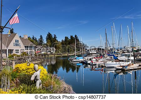 Stock Photos of Bainbridge Island Harbor Puget Sound Washington.