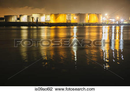 "Stock Photo of ""Petroleum and Oil storage tanks at night, Puget."