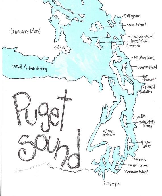 PUGET SOUND Map Northwest Gift Washington Gift Washington by.