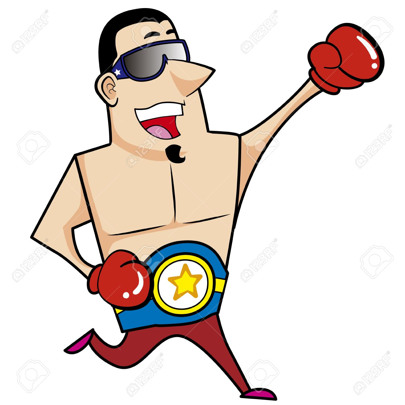 Cartoon Boxer With Boxing Gloves Vector Illustration Royalty Free.