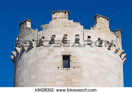 Clip Art of Queen's tower. Castle of Lucera. Puglia. Italy.