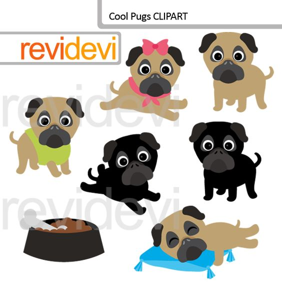 Cool Pugs clip art includes 7 cute dog graphics. Great for oet and.