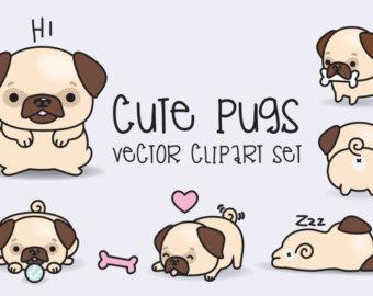 Pugs clip art.