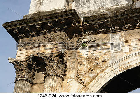Stock Photo of Architectural detail of a triumphal arch, Triumphal.