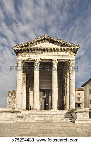 Stock Photograph of Temple of Romae and Augustus, Pula, Croatia.