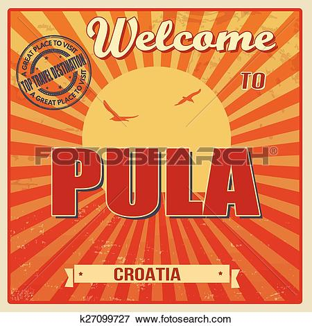 Clip Art of Pula retro poster k27099727.