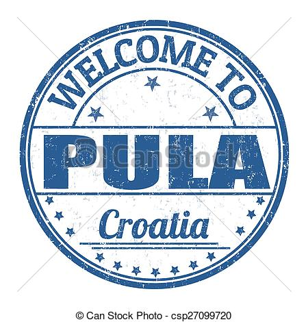 Vector Illustration of Welcome to Pula stamp.