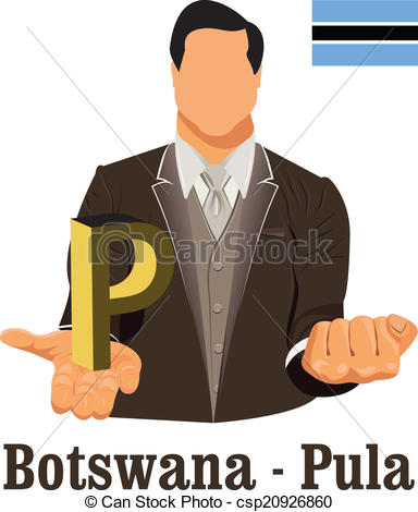 Clip Art Vector of Botswana national currency Botswana pula symbol.