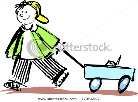 Clip Art Kid On Sled
