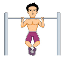 Man doing a pull up clipart jpeg.