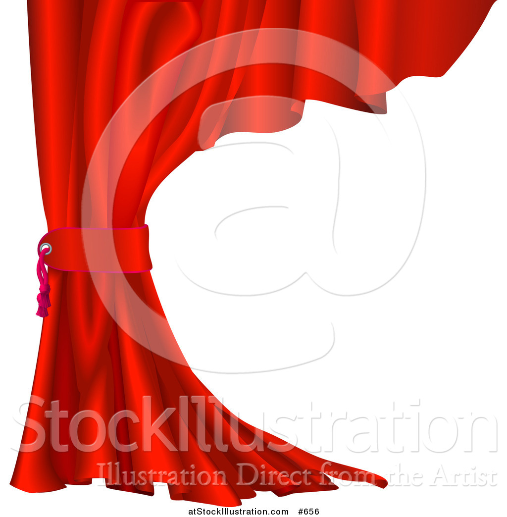 Vector Illustration of a Red Velvet Theater Curtain Pulled Back by.
