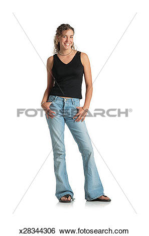 Stock Images of young teenage female with brown long curly permed.
