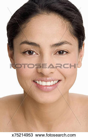 Stock Photo of Woman with hair pulled back, smiling x75214953.