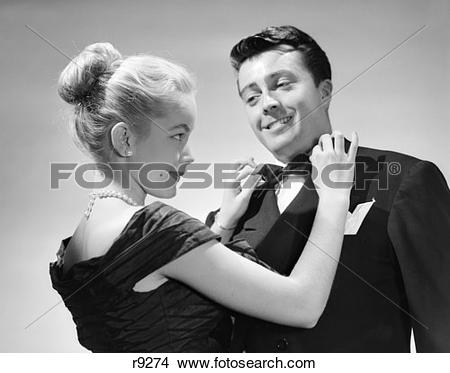 Stock Photo of 1950S Couple In Formal Attire Woman With Blonde.