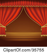 Clipart Illustration of Open Blue Stage Curtains Pulled To The.