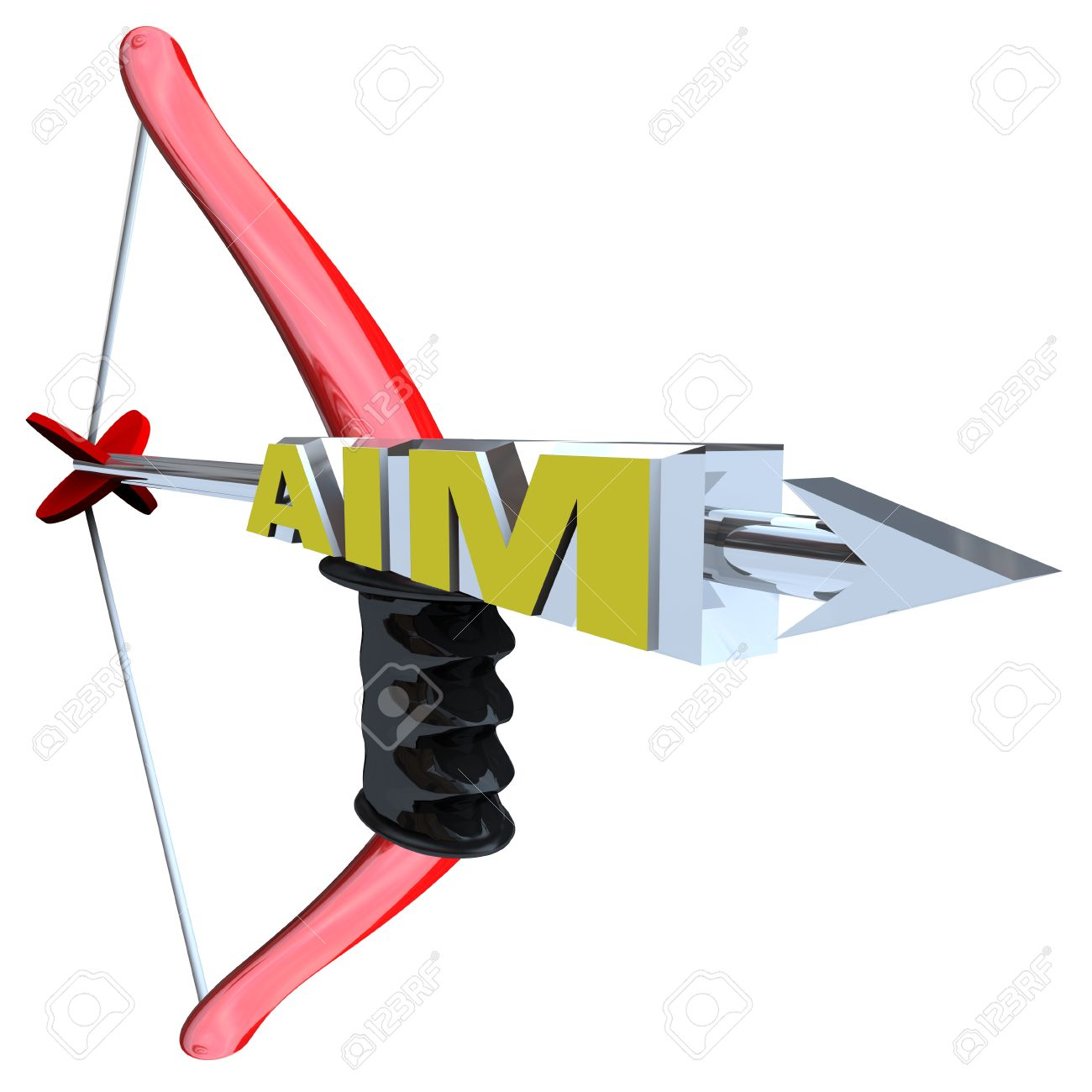 An Arrow With The Word Aim, Pulled Back On A Red Bow, Symbolizing.