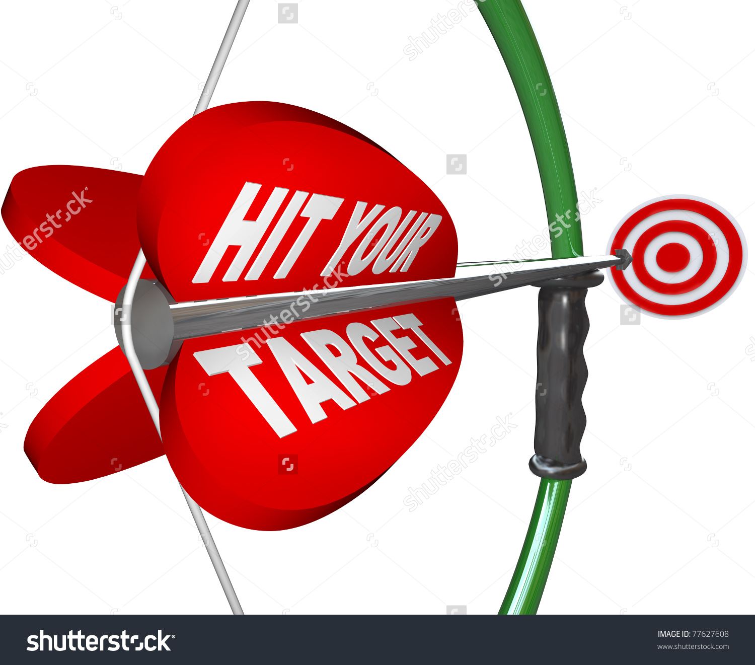 Arrow Words Hit Your Target Pulled Stock Illustration 77627608.