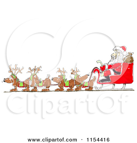 Clipart of a Team of Wiener Dogs Pulling Santas Sleigh.