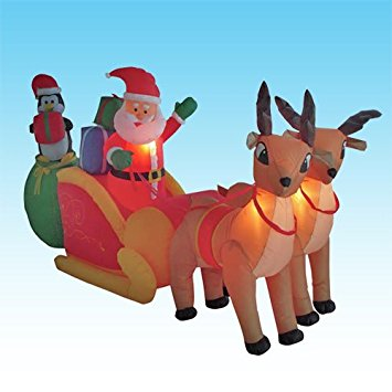 Amazon.com: 8.5 Foot Long Christmas Inflatable Santa Claus.