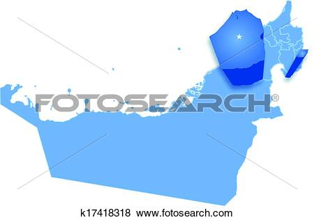 Clip Art of Map of United Arab Emirates where Dubai is pulled out.