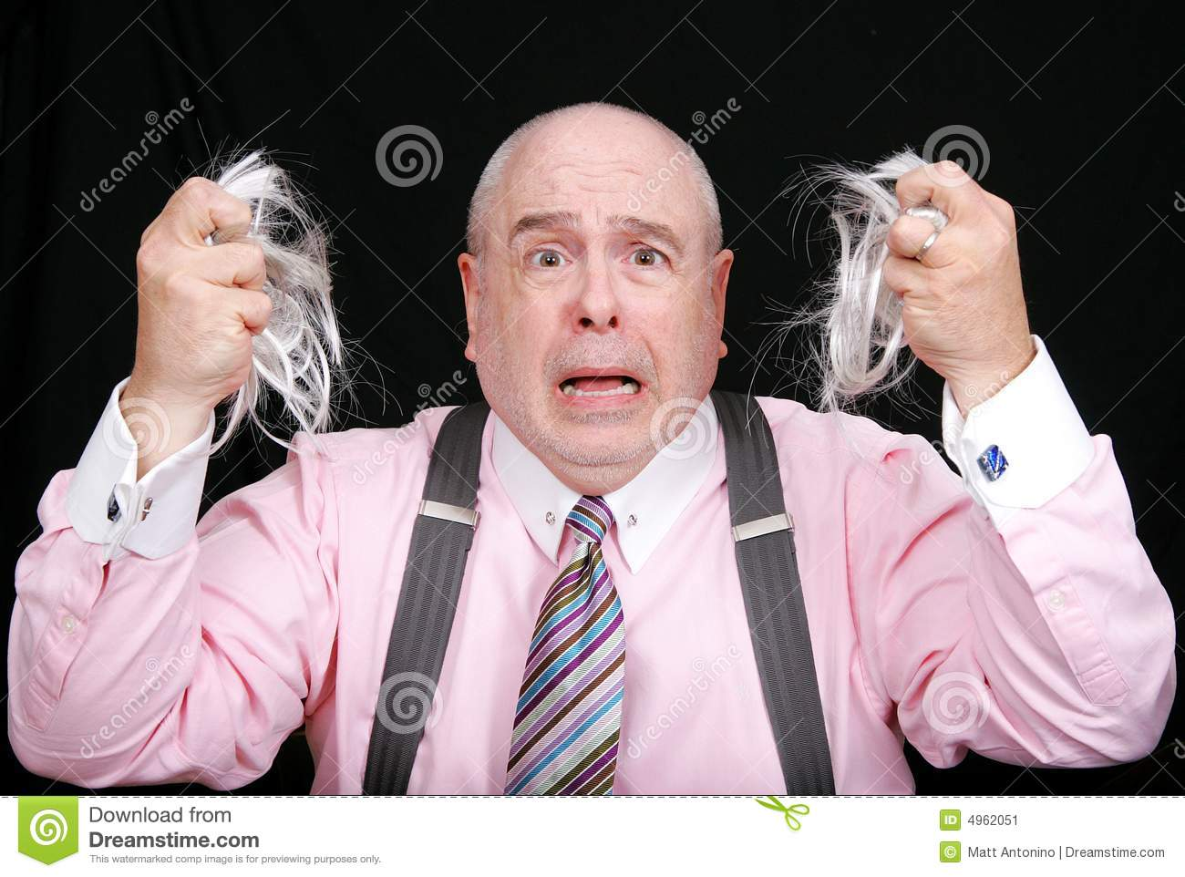 Man pulling his hair out clipart.