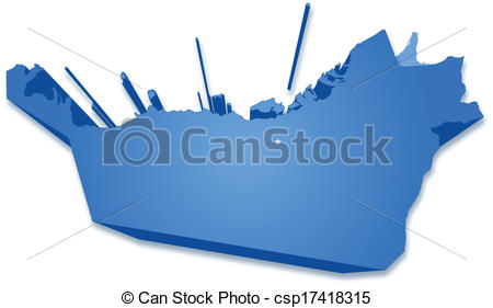 Vector Clip Art of Map of United Arab Emirates where Abu Dhabi is.