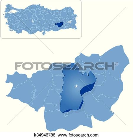 Clip Art of Map of Diyarbakir.