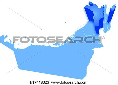 Clipart of Map of United Arab Emirates where Sharjah is pulled out.